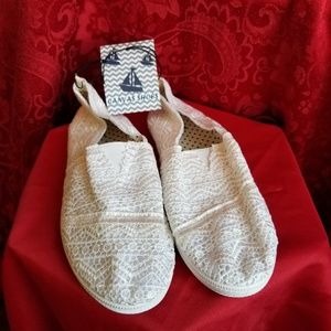Shoes - NEW! Crocheted Canvas Flats